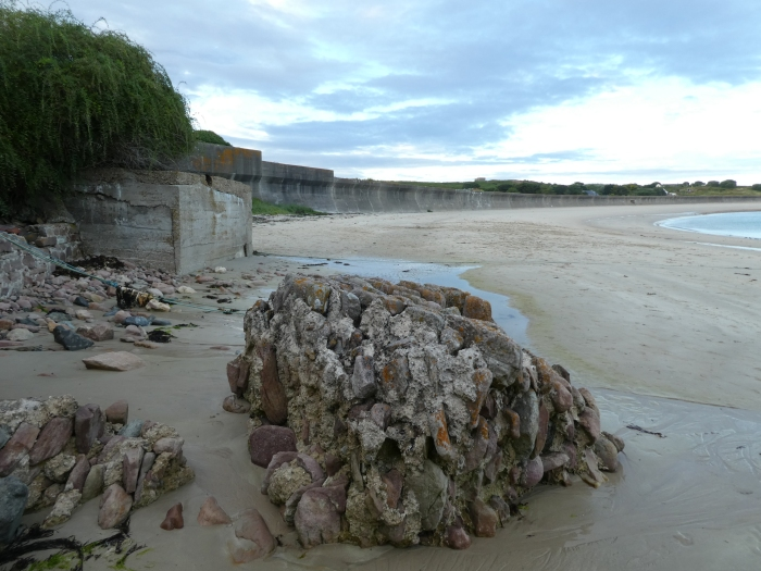 Beach with solid concrete wall behind it