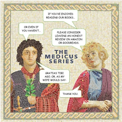 Mosaic of man and woman asking readers who have enjoyed their books to consider leaving an honest review.