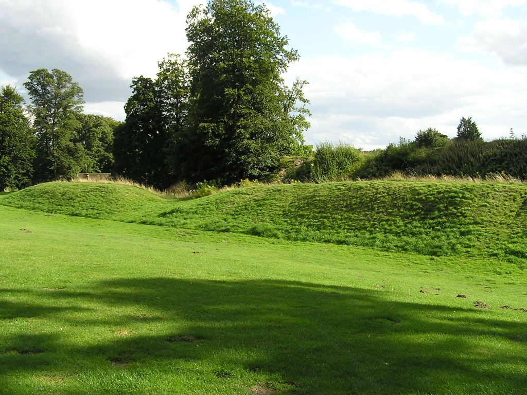 Ancient earthworks in field