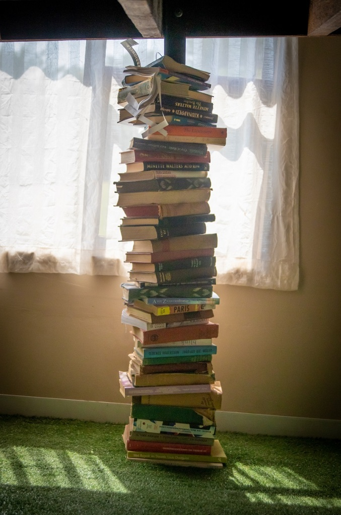 Tower of books - photo by Magda Ehlers