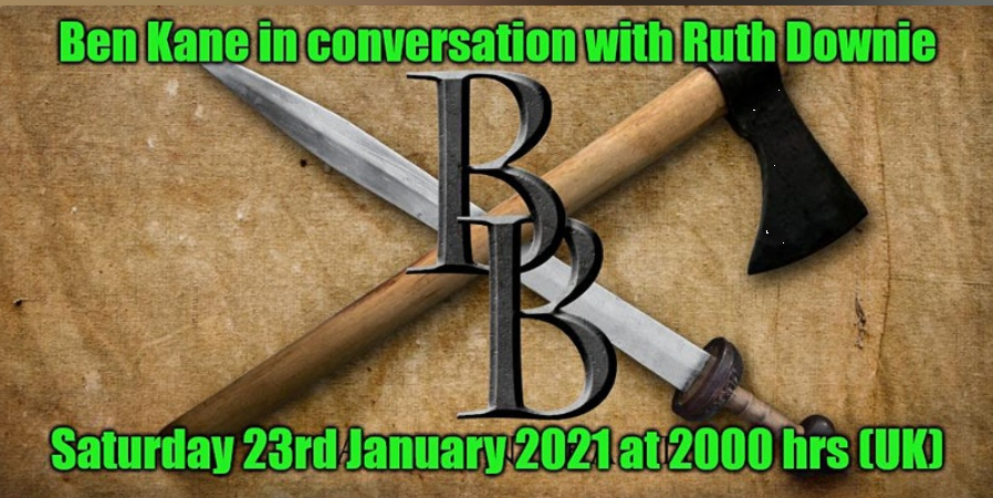 """Banner advertising """"Blades and Banter"""" event showing crossed sword and axe."""